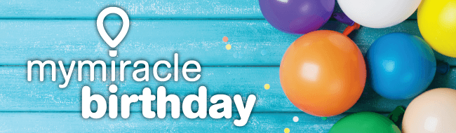 My Miracle Birthday logo with balloon background