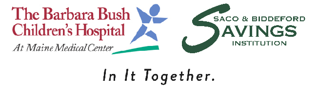 Barbara Bush Children's Hospital logo, Saco & Biddeford Savings logo, and In It Together tagline