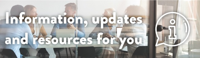 Employees in a Conference Room with overlaid text: informations, resources and updates for you